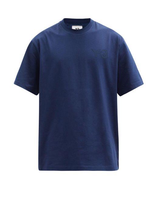 メンズ Y-3 ロゴ コットンtシャツ Blue
