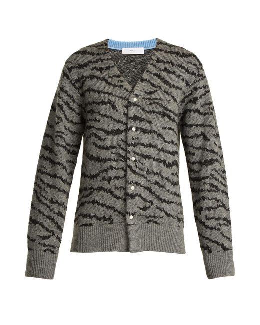 Toga | Gray Animal-jacquard Wool-blend Cardigan | Lyst