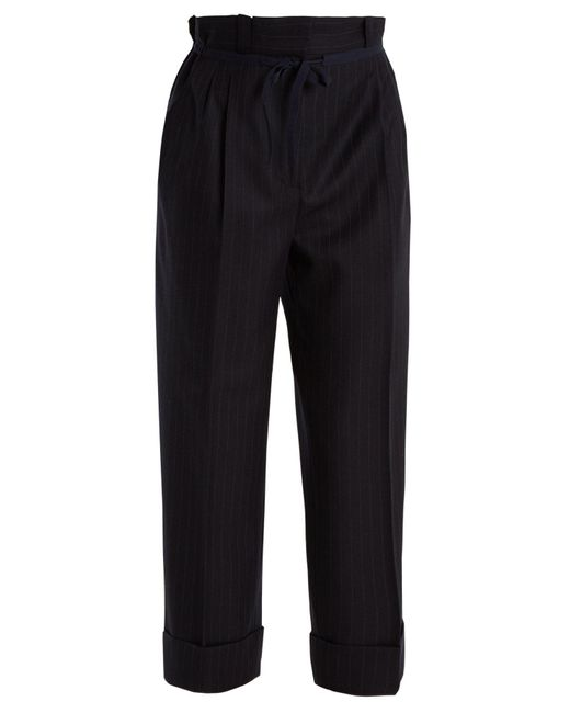 Acne - Black Tien Pinstriped Gathered-waist Wool Trousers - Lyst
