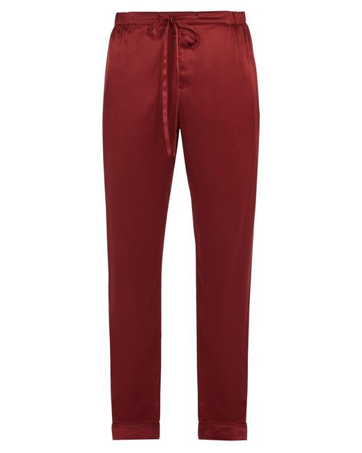 Meng | Red Wide-leg Silk-satin Pyjama Trousers for Men | Lyst