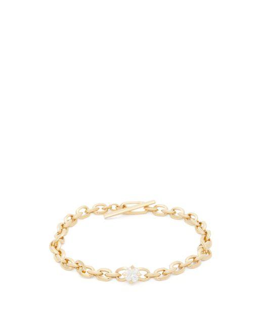 Lizzie Mandler ナイフエッジ ダイヤモンド 18kゴールドチェーンブレスレット Metallic