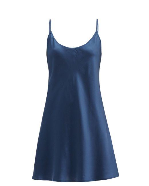La Perla シルクサテン スリップドレス Blue