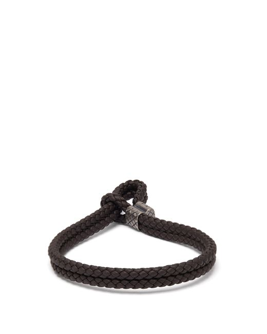 Bottega Veneta Brown Double Intrecciato Woven Leather Bracelet for men