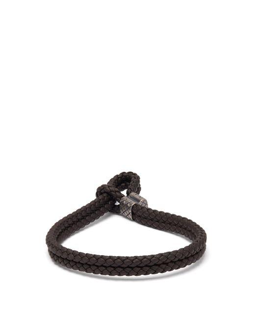 Bracelet en cuir à double tissage intrecciato Bottega Veneta pour homme en coloris Brown