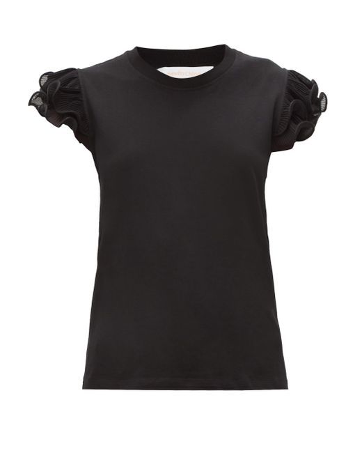 See By Chloé See By Chloé ラッフルスリーブ コットンtシャツ Black