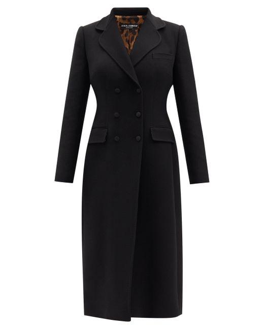 Dolce & Gabbana ウールクレープ ダブルコート Black