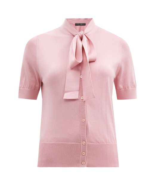 Dolce & Gabbana ボウタイ シルクカーディガン Pink