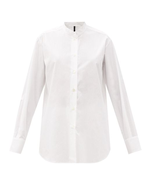 Sara Lanzi スタンドカラー コットンポプリンシャツ White