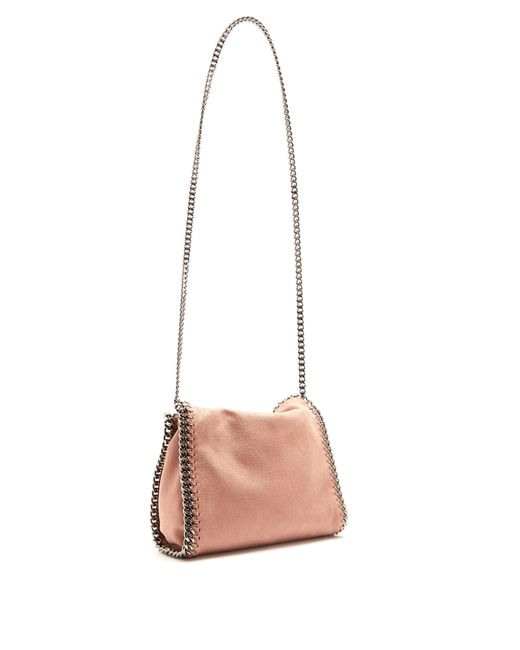 ... Stella McCartney - Pink Falabella Mini Faux Suede Cross Body Bag - Lyst  ... 24f381e4b423f