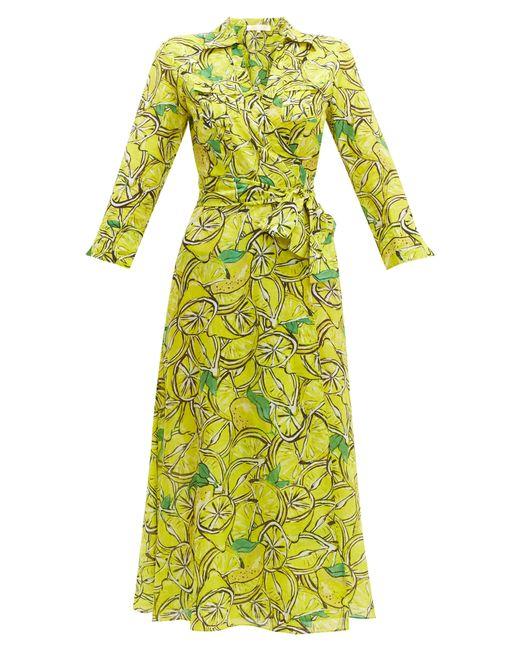 Diane von Furstenberg Green Lemon-print Cotton-blend Wrap Dress
