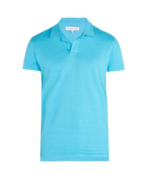 Orlebar Brown - Blue Felix Cotton Polo Shirt for Men - Lyst