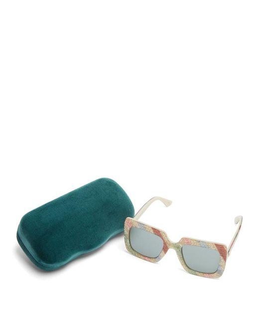 769b6da7a31 ... Gucci - Multicolor Glitter Stripe Square Frame Sunglasses - Lyst ...