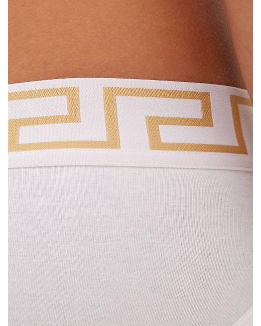 メンズ Versace ロゴ ローライズ コットンブリーフ Multicolor