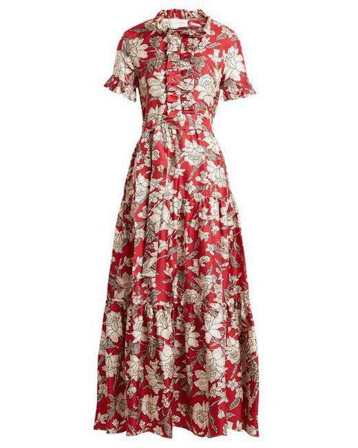 Long & Sassy Lilium-print silk-twill dress La DoubleJ lSGRksG23