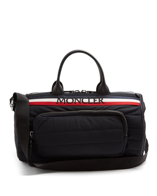 Moncler - Black Striped Logo Embroidered Quilted Holdall for Men - Lyst