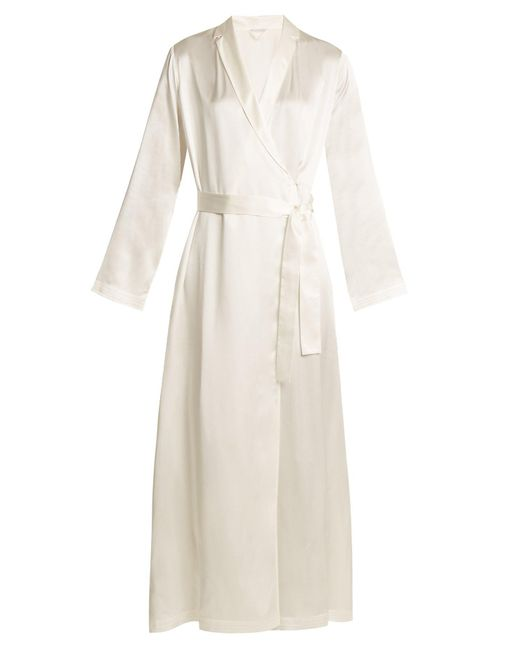 La Perla White Silk Satin Robe