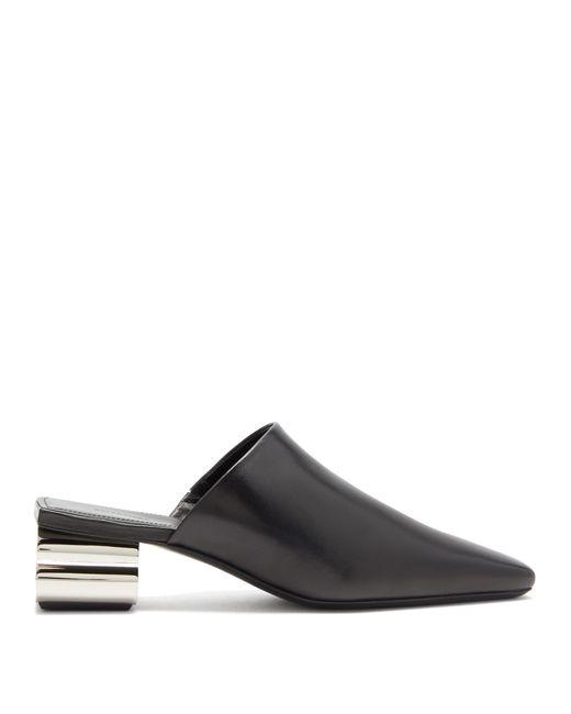 Balenciaga Black Typo Chrome Heel Leather Mules