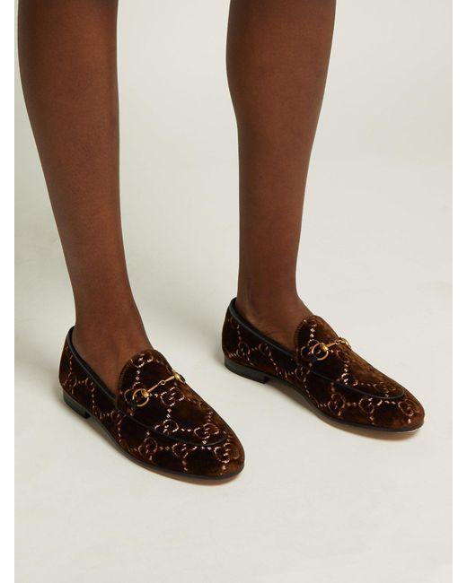 279a610b905 ... Gucci - Brown Jordaan Logo Jacquard Velvet Loafers - Lyst ...