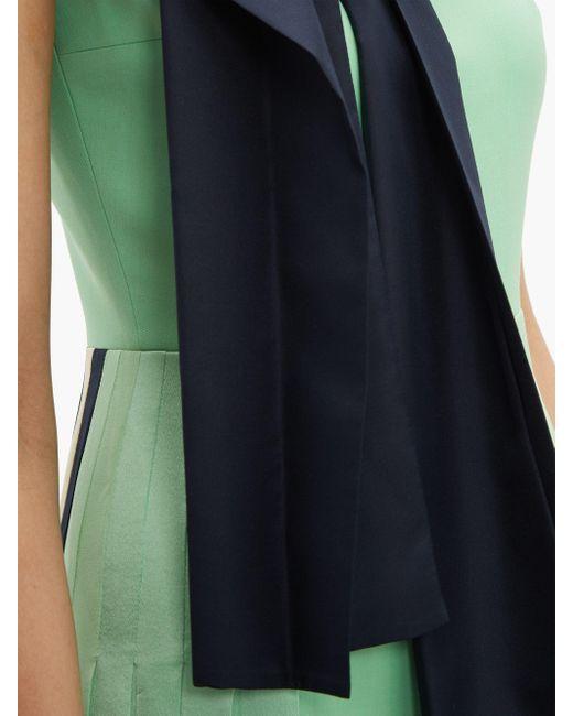 Roksanda タイネック プリーツミディドレス Green