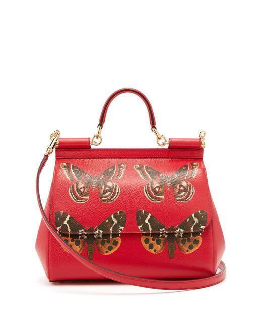Dolce & Gabbana - Red Sicily Medium Butterfly Print Dauphine Leather Bag - Lyst