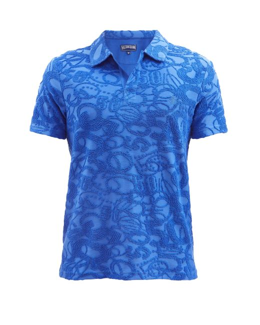メンズ Vilebrequin ピロット コットンブレンドテリー ポロシャツ Blue