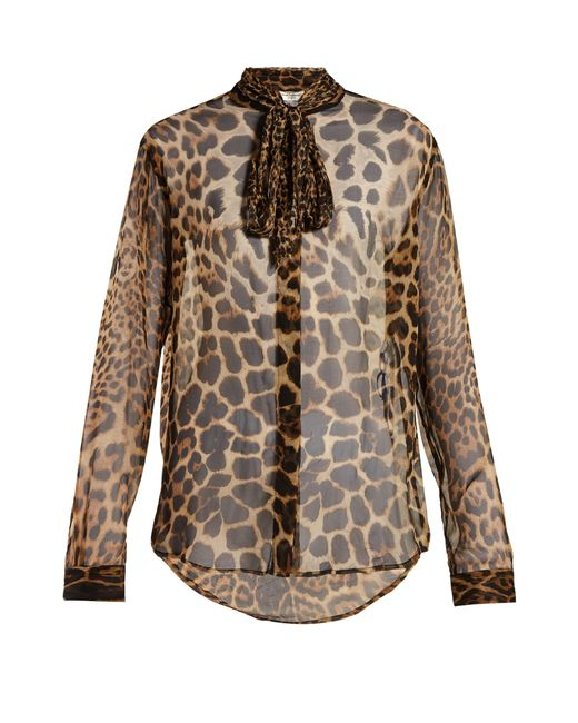 37d2dfb6668b2d Saint Laurent Leopard Print Silk Georgette Blouse in Brown - Save 34 ...