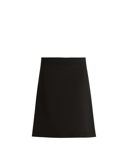 Raey - Black Split Side Crepe A Line Skirt - Lyst