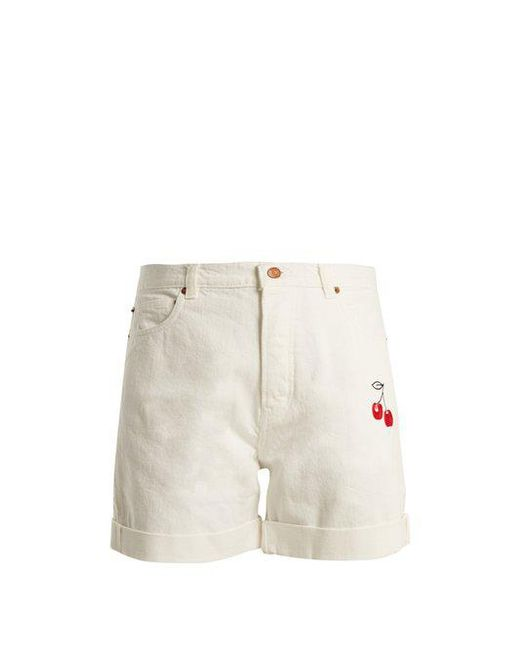 Bliss and Mischief - White Cherry-embroidered High-rise Denim Shorts - Lyst