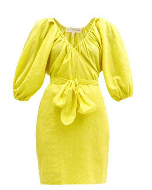Mara Hoffman コレット オーガニックコットンリネン ラップドレス Yellow