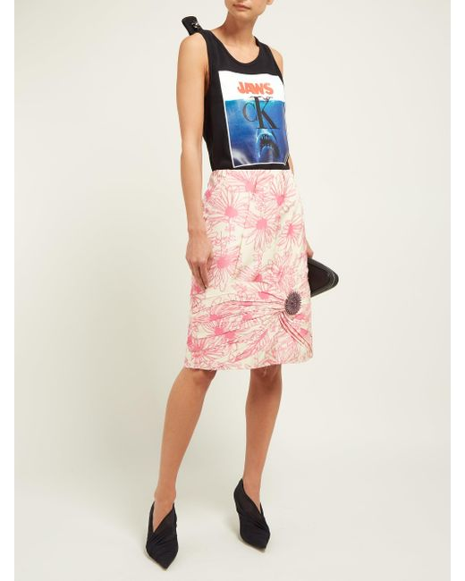 Calvin Klein ブローチディテール フローラルプリント シルクスカート Pink