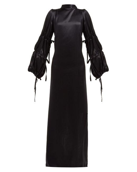 Ann Demeulemeester オープンバック シルクサテン クレープドレス Black