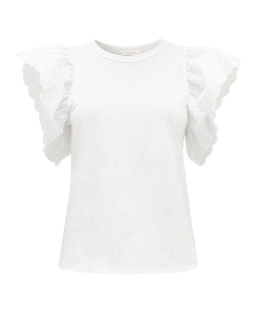 See By Chloé See By Chloé スカラップスリーブ コットンtシャツ White