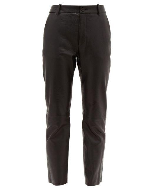 Nili Lotan Black Montauk Lizard Effect Leather Slim Leg Trousers