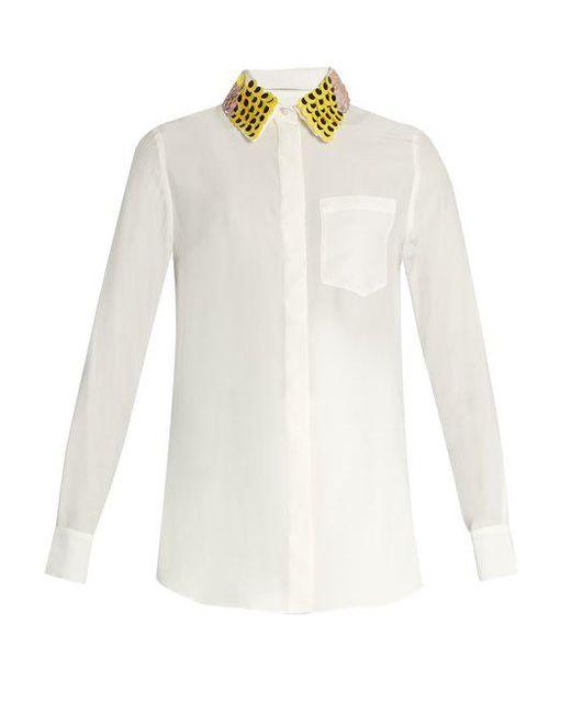 Altuzarra - Natural Chica Detachable-collar Long-sleeved Shirt - Lyst