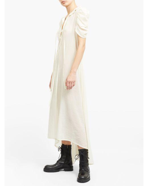 Ann Demeulemeester ラッフルネック コットンボイル シャツドレス Multicolor