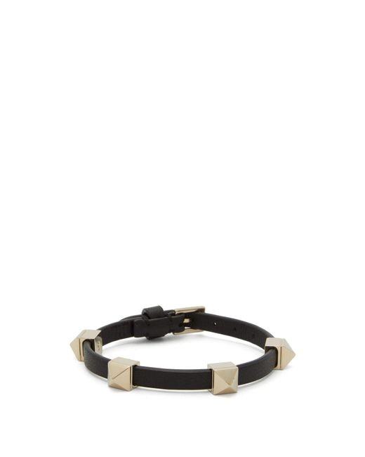 Valentino Black Rockstud-embellished Leather Bracelet