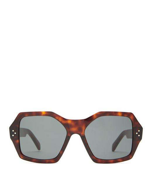 Céline Brown Angular Square Acetate Sunglasses