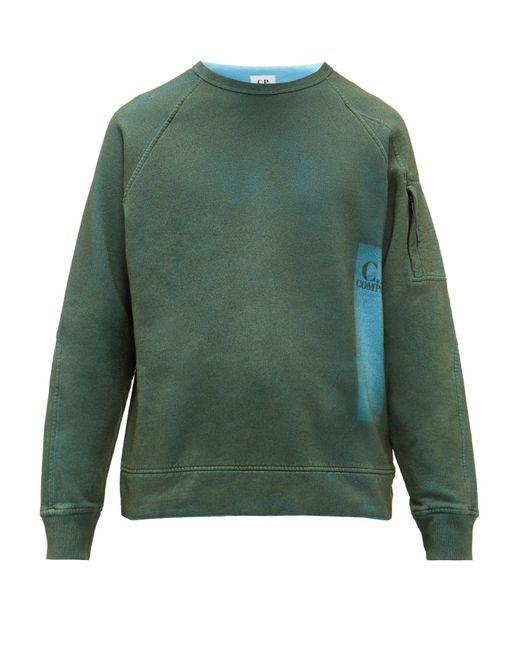 メンズ C P Company プリズム フェード コットン スウェットシャツ Green