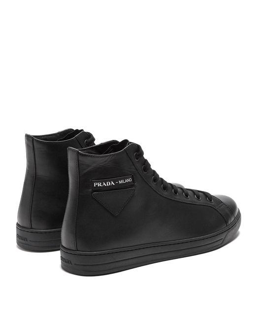 9e7a322abee83 Top Trainers Leather Men Lyst Prada Calf Black For High EgZXqUn6