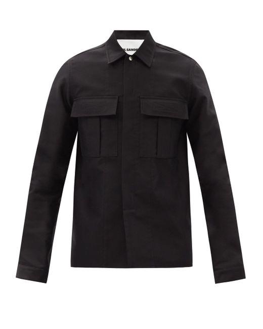 メンズ Jil Sander パッチポケット コットンツイルシャツ Black