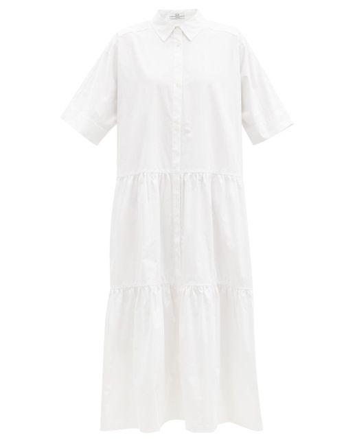 Co. コットンサテン ティアードシャツドレス White