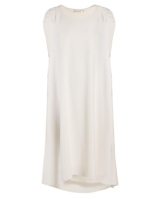 The Row White Dada Ruched-shoulder Cady Dress