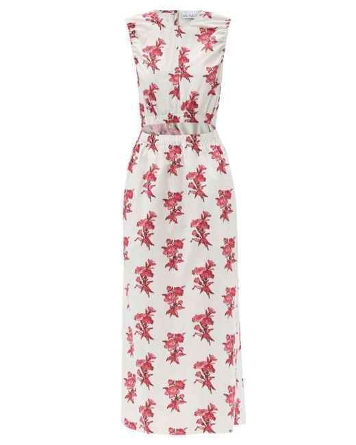 Raey Multicolor Elasticated Cut-out Floral-print Cotton Dress