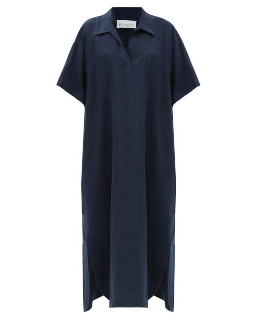 Raey パッチポケット リネンスモックドレス Blue