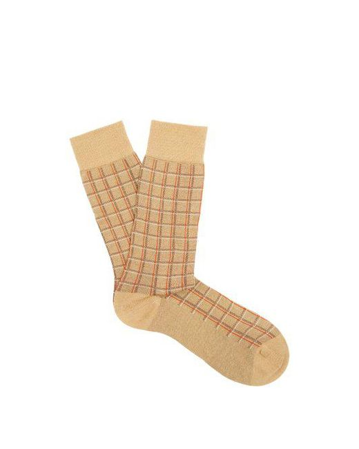 Pantherella - Natural Saffron Checked Cotton-blend Socks for Men - Lyst