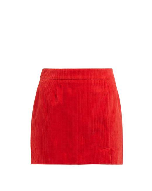 Bella Freud Alexa コットンコーデュロイ ミニスカート Red