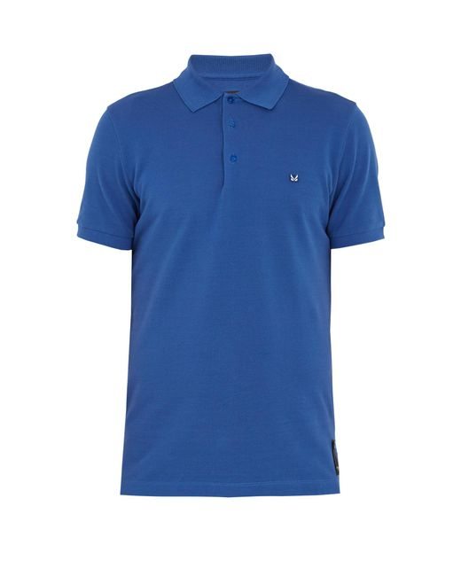 Fendi logo patch cotton polo shirt in blue for men lyst for Cotton polo shirts with logo