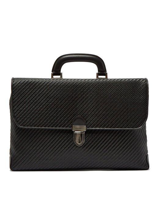 Ermenegildo Zegna - Black Pelle Tessuta Woven-leather Briefcase for Men - Lyst