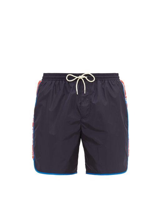 Short de bain à bande et logo Gucci pour homme en coloris Blue