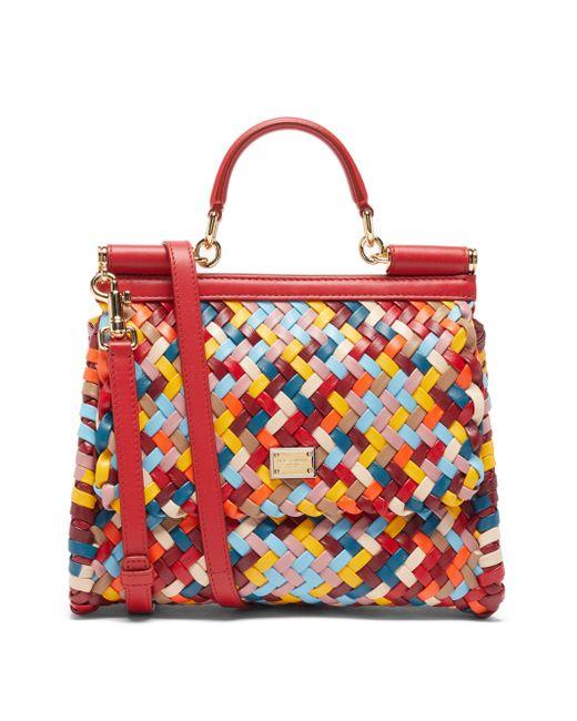 Dolce & Gabbana シシリー ミディアム レザーバッグ Red